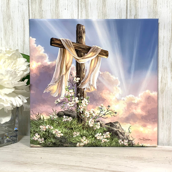 He is Risen Pizazz Print with Aurora Borealis Crystals