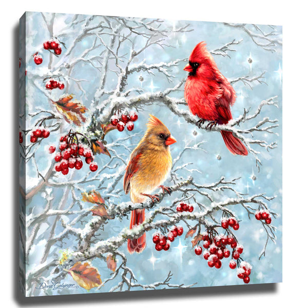 Winter Cardinals Pizazz Print with Aurora Borealis Crystals