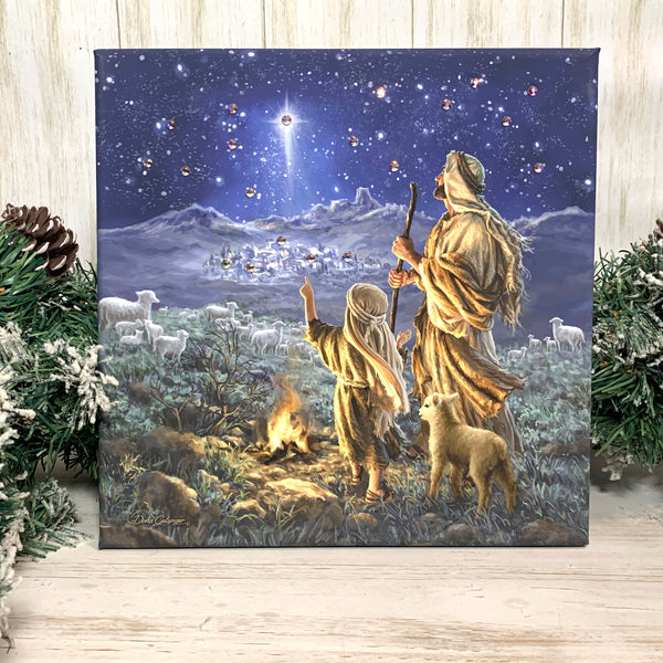 Shepherds Keeping Watch Pizazz Print with Genuine Swarovski Crystals