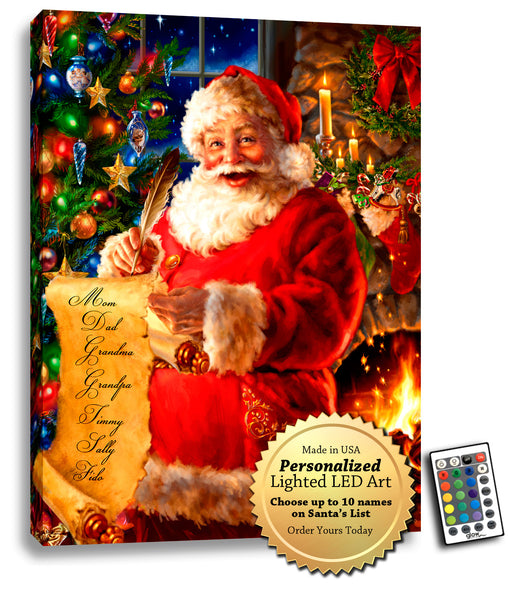 Santa's List - Personalized LED Illuminated Art