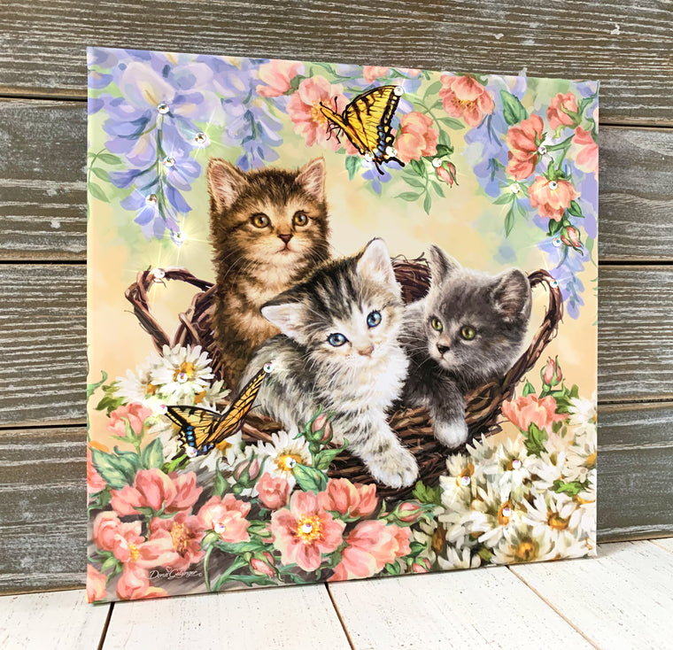 Kittens and Butterflies Pizazz Print with Genuine Swarovski Crystals