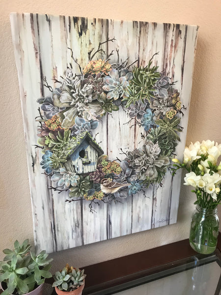 Succulent Wreath Canvas Wall Art