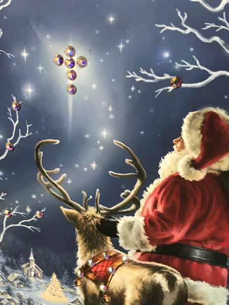Starry Night Santa Pizazz Print with Genuine Swarovski Crystals