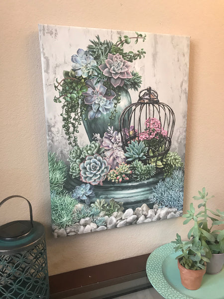 Succulent Garden Canvas Wall Art