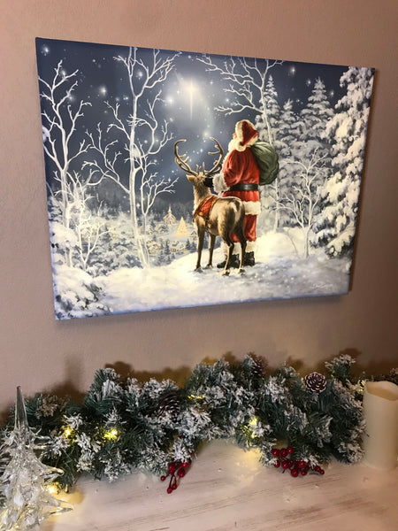 Starry Night Santa - Illuminated Fine Art