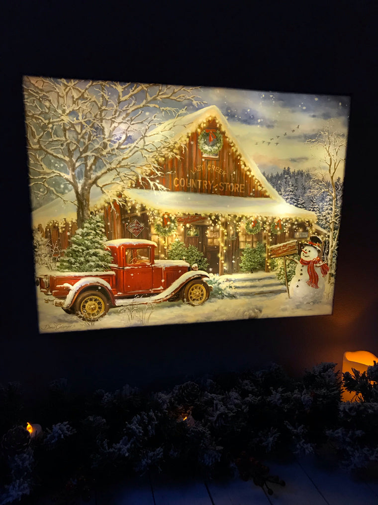Country Store Christmas - Illuminated Fine Art