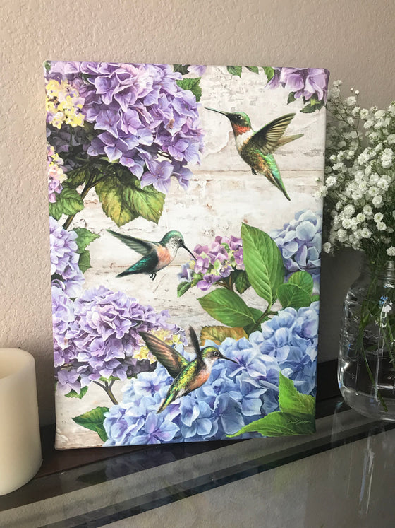 Hummingbirds and Hydrangeas Canvas Wall Art