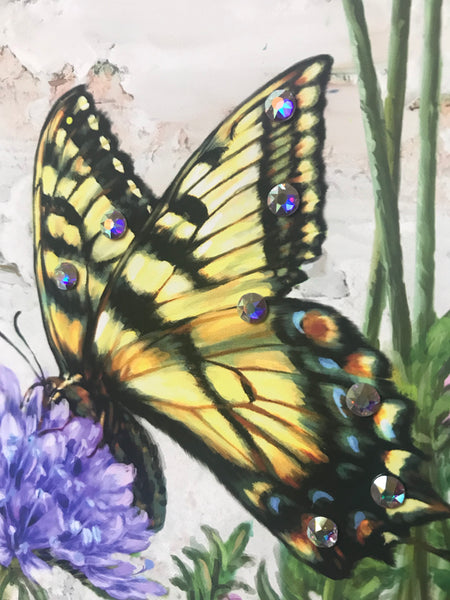 Butterfly Garden Pizazz Print with Aurora Borealis Crystals