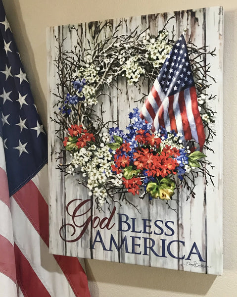 Patriotic Wreath Canvas Wall Art