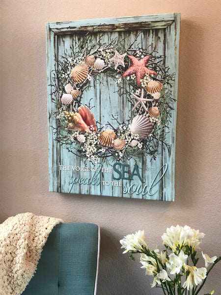Coastal Wreath Canvas Wall Art