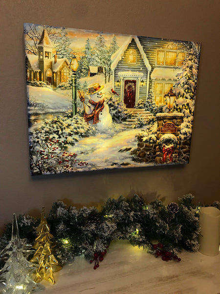 Silent Night Lane - Illuminated Fine Art