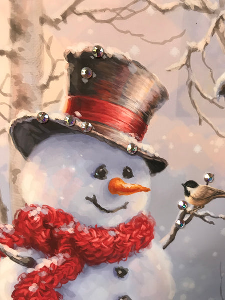 Birch Forest Snowman Pizazz Print with Genuine Swarovski Crystals
