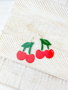 Acrylic Cherry Dangle Earrings