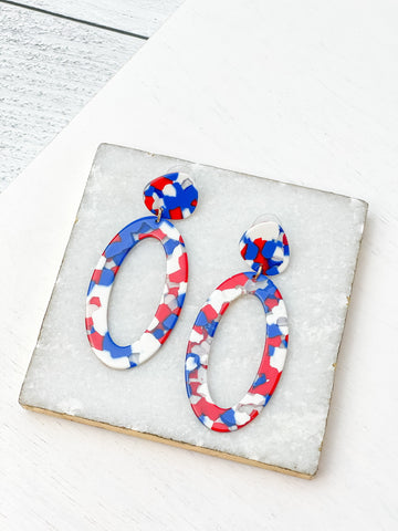 Red, White, & Blue Acrylic Oval Dangle Earrings
