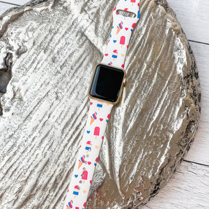 Patriotic Ice Cream Printed Silicone Smart Watch Band