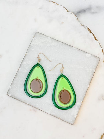 Acetate Avocado Dangle Earrings