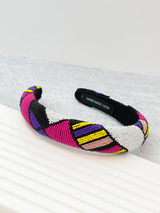 Padded All Over Beaded Headband - Fuchsia Multi