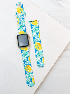 Blue Lemon Printed Silicone Smart Watch Band