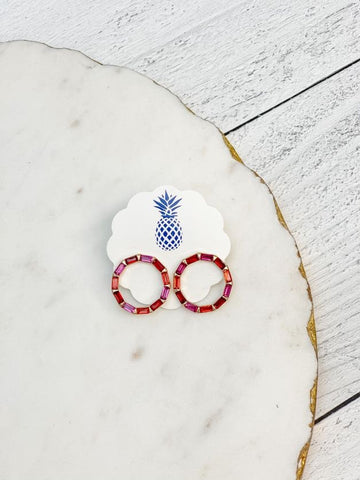 Red Multi Baguette Stud Earrings