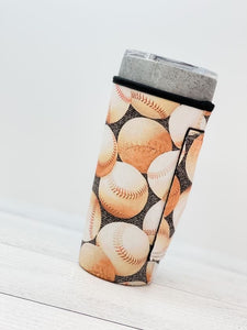 Insulated Cold Cup Sleeve with Handle - Baseballs Print