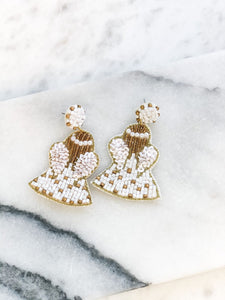 Beaded Angel Statement Earrings