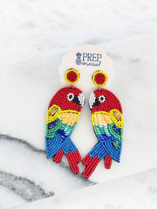 Beaded Jewel Parrot Statement Earrings