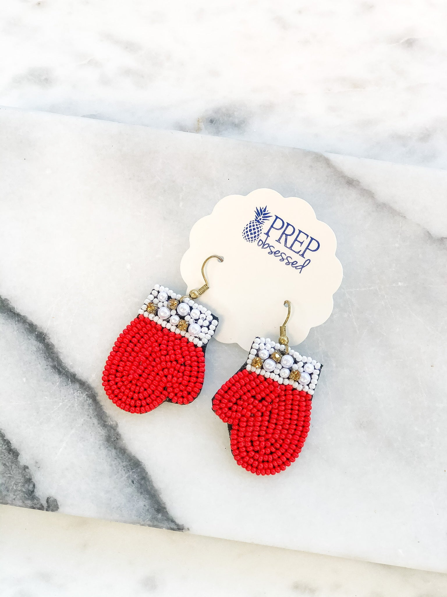 Beaded Red Mittens Statement Earrings