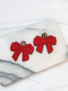 Beaded Red Ribbon Statement Earrings