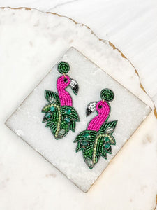Beaded Tropical Flamingo Dangle Earrings