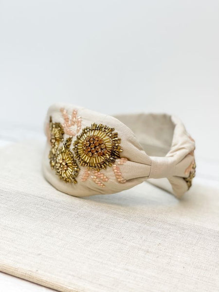 Beige Gold Embellished Fabric Headband