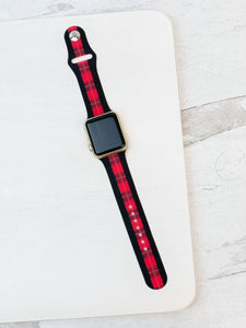 Plaid Stripe Silicone Smart Watch Band - Red & Black M/L