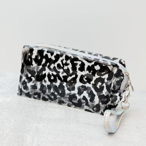 Clear Black Leopard Cosmetic Pouch