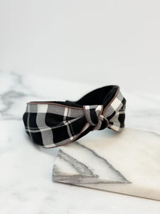 Plaid Top Knot Headband - Black/White