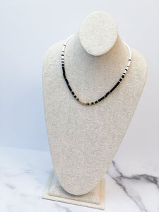 Rubber Disc Bead Necklace - Black & White