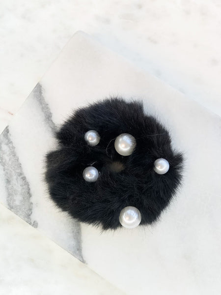 Pearl Fur Hair Scrunchies