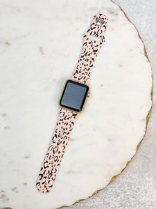 Blush Leopard Printed Silicone Watch Band