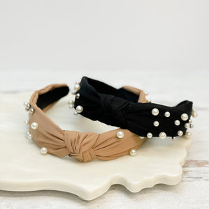 Top Knot Pearl & Silver Beaded Headbands