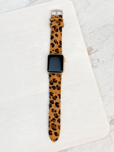 Brown Leopard Textured Leather Smart Watch Band - Size 38/40