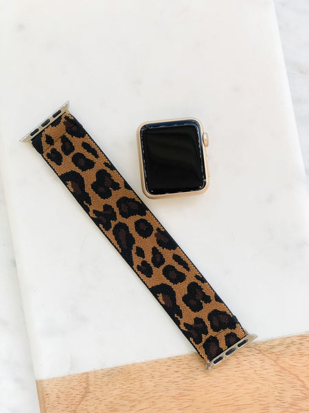 Brown Leopard Print Stretch Watch Band