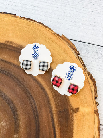 Buffalo Check Stud Earrings