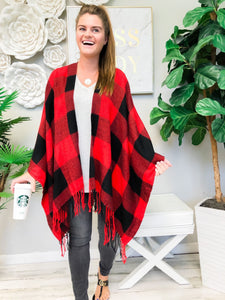 Cozy Red Buffalo Check Plaid Open Poncho