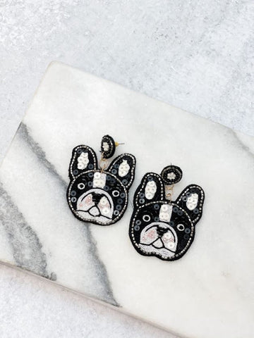 Bulldog Beaded Statement Earrings