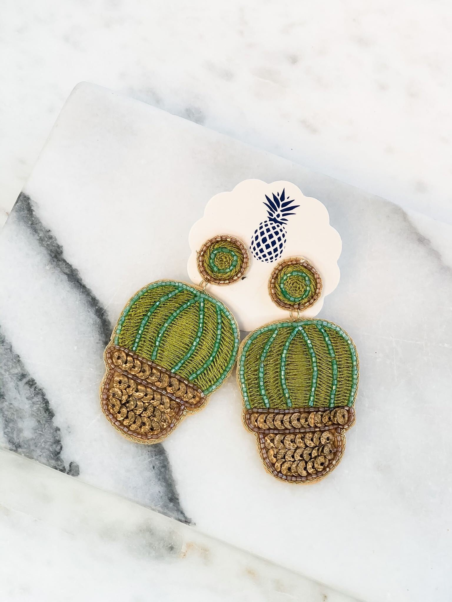 Potted Cactus Seed Bead Dangle Earrings