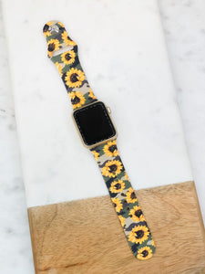 Sunflower Camouflage Silicone Smart Watch Band - S/M