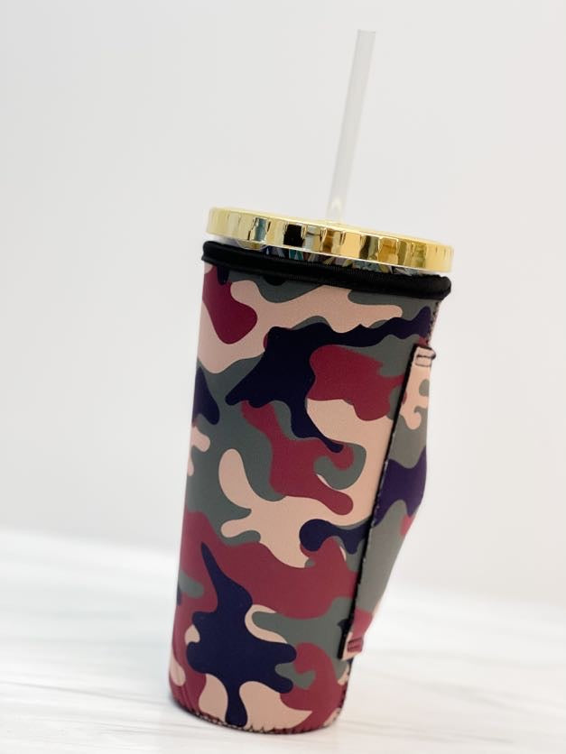 Insulated Cold Cup Sleeve with Handle - Camouflage
