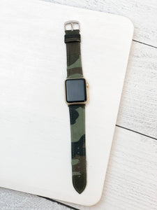 Camouflage Leather Smart Watch Band - 38/40MM