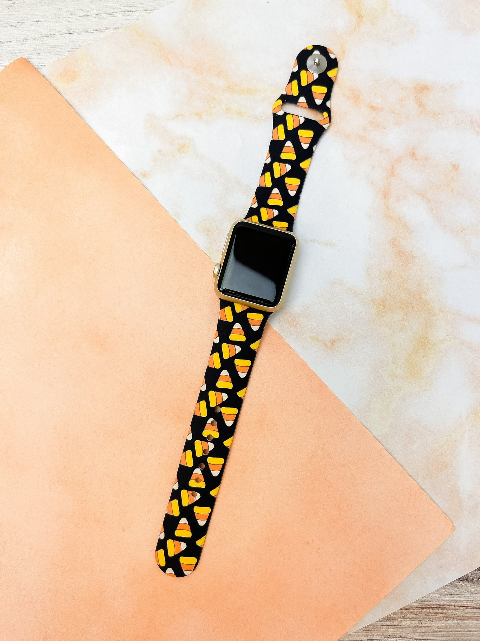 Candy Corn Printed Silicone Watch Band