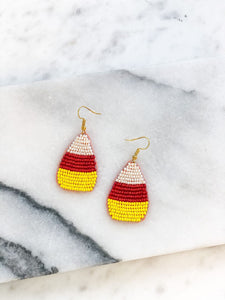 Beaded Candy Corn Statement Earrings