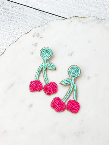 Beaded Cherry Dangle Earrings