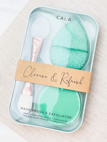 Cleanse and Refresh Mask Brush & Exfoliator - Mint